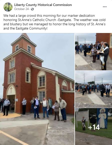 Liberty CHC marker dedication for St. Anne's Catholic Church.
