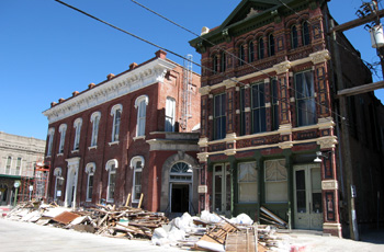Two buildings in Galveston damaged by a hurricane