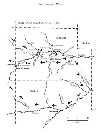 2.	This map shows the path of the Comanche Raiders through Menard and Kimble Counties during the raid.