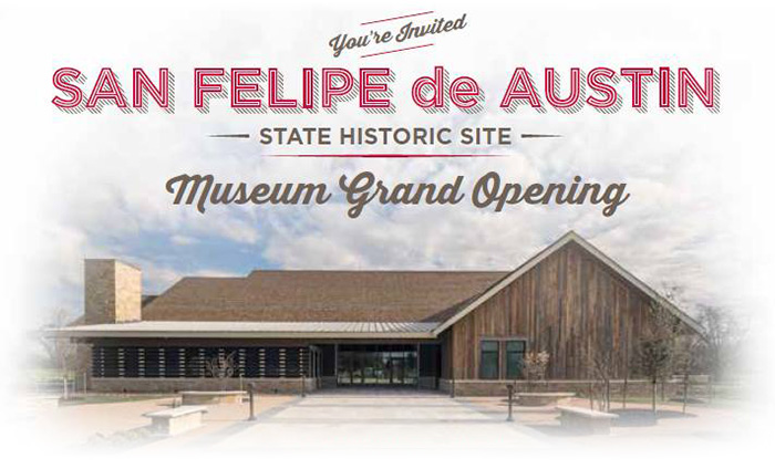 Invitation to San Felipe de Austin for museum opening