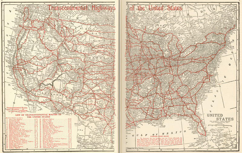 1918 map of transcontinental highways in the U.S., courtesy Texas State Library and Archives Map Collection.