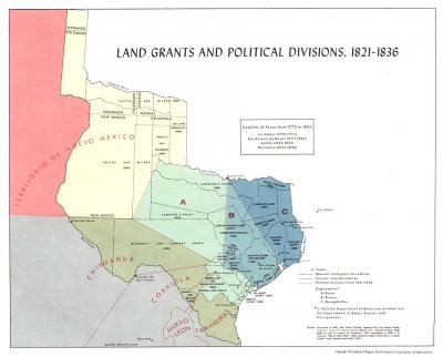 Early land grants and political divisions in Texas, courtesy University of Texas at Austin PCL Map Collection