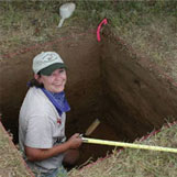 Texas Archeological Steward working at a archeological dig