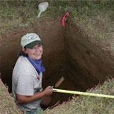 Texas Archeological Steward working at a archeological dig