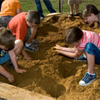 Children at state historic site archeological dig