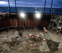 Overview of La Belle during excavation in the cofferdam