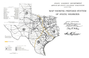 Map showing Proposed System of State Highways, highlighting the Meridian Highway.