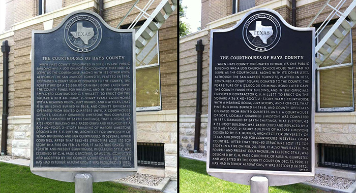 A look at before and after a Texas State Historical Marker was refinished