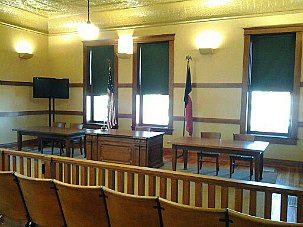 Interior courtroom of Hardeman County Courthouse