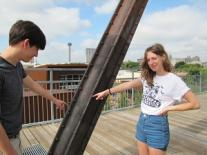 Ben Jones and Sarah Cuk point out the rivets on the Hays Street Bridge in San Antonio, August 2015.