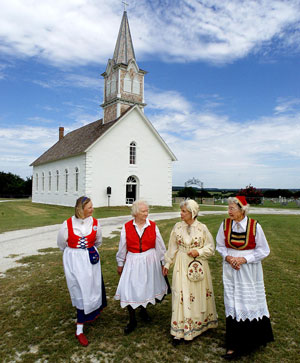 Women in traditional costume at Clifton-area church