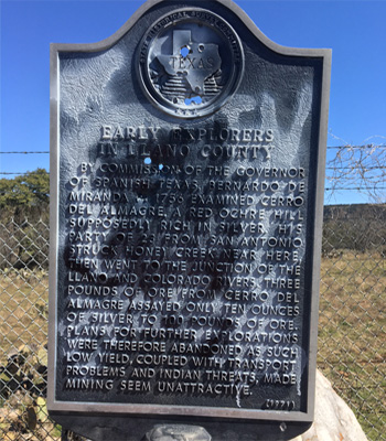 Vandalized Historical Marker in Hill Country