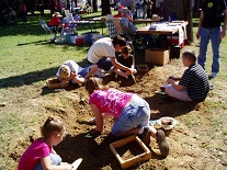 2013 Arlington Fall Festival:  members of the Tarrant County Archeological Society assisted with mock digs.