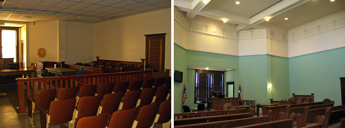 Courtroom in Cooke County Courthouse before and after restoration.