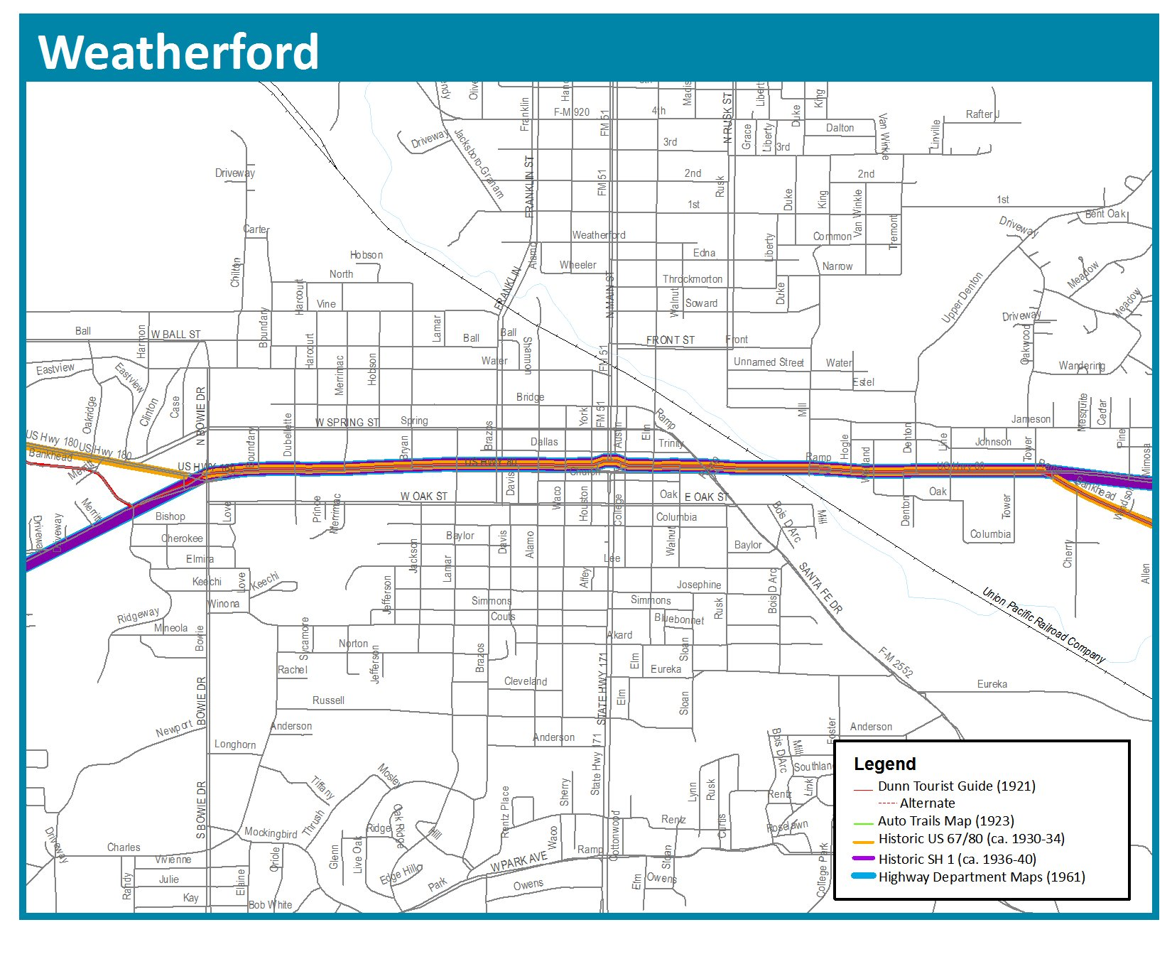 Weatherford Texas City Map