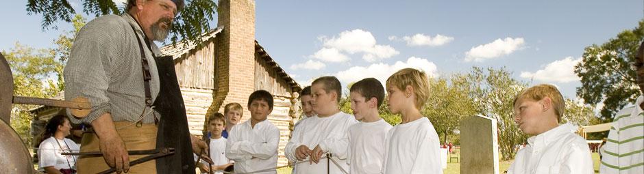 Blacksmith demonstration to school kids at San Felipe de Austin State Historic Site, San Felipe