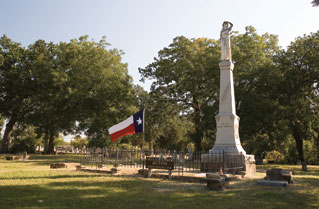 Monument with Texas flag