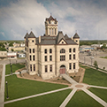 Aerial view of the Karnes County Courthouse