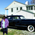 Barbara Ross with Sam Rayburn's Cadillac