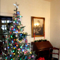 Christmas tree in the parlor of the Sam Rayburn House.