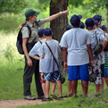 Campers enjoy a nature hike.
