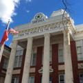 San Saba Courthouse's columns.