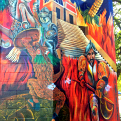 A detail from the colorful mural on the Panamerican Center's stage.