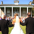 Photo from an outdoor wedding at the Varner Hogg Plantation State Historic Site.