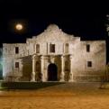The Alamo at night.