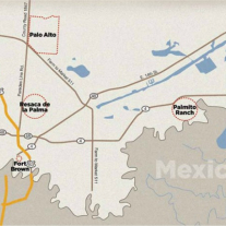 Regional Map of Cameron County noting location of Palmito Ranch Battlefield