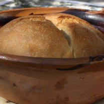 Freshly baked bread, baked in an open fire
