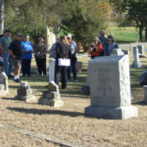 Cemetery Walking Tour attendees learn about memorable citizens from Bonham and Fannin County