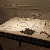 Archeological collection objects on display at the Sam Rayburn House State Historic Site