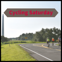 """group of bikes with San Jacinto Monument in the background. Text reads """"Cycling Saturday"""""""