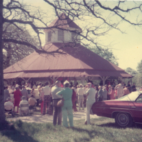 Speeches under the pavilion in the 1970s