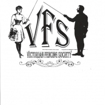 Black and white logo of Victorian Fencing Society