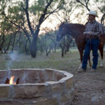 Cowboy and horse around the campfire.