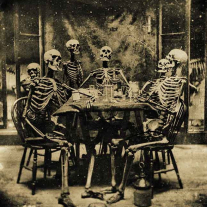 Human skeletons staged around a table