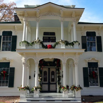Maxey House exterior with holiday decorations