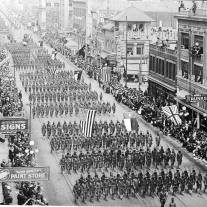Fort Worth 1918 military parade postcard