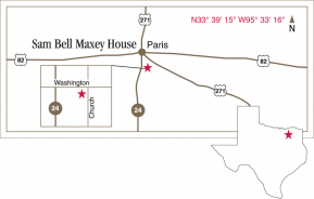 Driving map to the Maxey House.