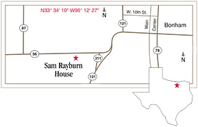 Sam Rayburn House State Historic Site | Bonham, Texas ... on map of cross plains texas, map of ivanhoe texas, map of floydada texas, map of glenn heights texas, map of holly lake ranch texas, map of channing texas, map of sachse texas, map of lott texas, map of forest hill texas, map of broaddus texas, map of calvert texas, map of balcones heights texas, map of bremond texas, map of combes texas, map of graford texas, map of camp wood texas, map of ladonia texas, map of fabens texas, map of annetta texas, map of christoval texas,