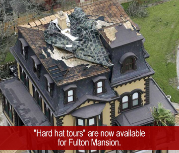 An aerial view of the damage Hurricane Harvey caused to Fulton Mansion