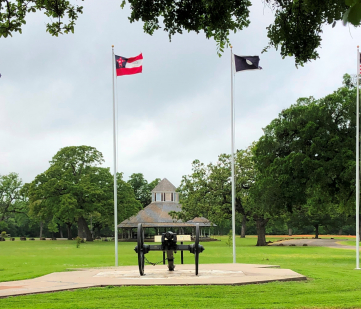 The Old Val Verde Cannon, period flags, and the historic pavilion.