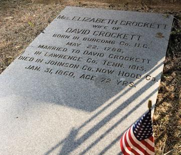 Elizabeth Crockett's headstone.