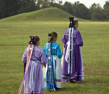 Girls in native Caddo dress.