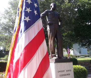 US flag and statue of Eisenhower.