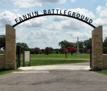 The arched entry to Fannin Battleground.