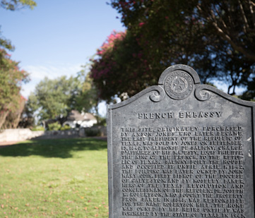 A historical marker about the French Legation building.