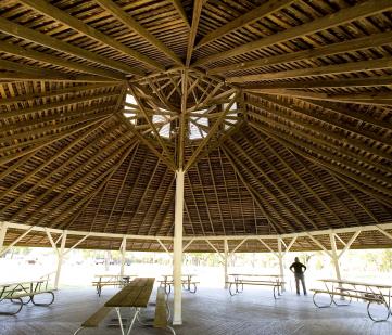 Underneath the dance pavilion.